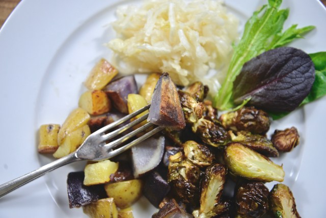 camel hump fat fried skillet potatoes and roasted brussel sprouts