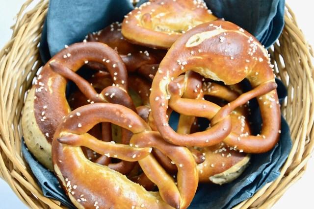basket of German pretzels