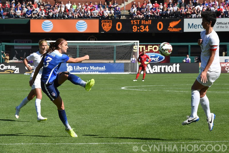 Alex Morgan gets a shot off during a friendly agains New Zealand at Busch Stadium.