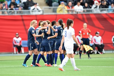 France celebrates after Eugénie Le Sommer scored in the 28th minute in a Group F opening-round match in Moncton.