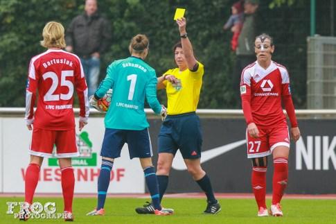 Desirée Schumann (FFC) gets a yellow card.