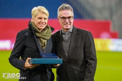 Doris Fitschen is honored for her 144 caps for Germany.