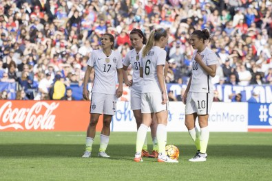 Tobin Heath, Lindsey Horan, Whitney Engen, and Carli Lloyd.