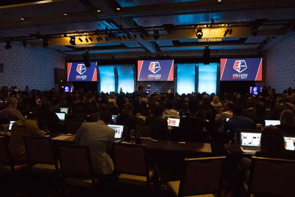 Media row at the 2017 NWSL College Draft. (Manette Gonzales/OGM)