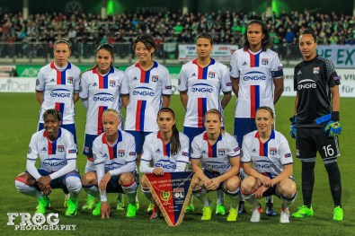 Lyon starting lineup against Wolfsburg in the first leg of a 2017 UEFA Women's Champions League quarterfinal.