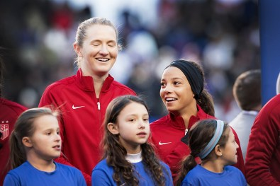 Sam Mewis and Mallory Pugh during lineup introductions at the 2017 SheBelieves Cup.
