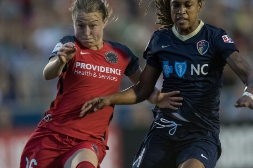 Emily Sonnett and Jess McDonald battle for the ball (Shane Lardinois).