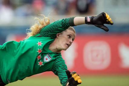 Alysaa Naeher in action for the Chicago Red Stars. (Shane Lardinois)