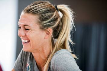 Stephanie Ochs has a laugh during 2017 NWSL Media Day. (Monica Simoes)