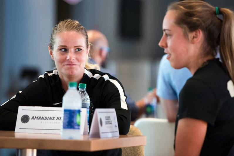 Amandine Henry and Celeste Boureille during 2017 NWSL Media Day. (Monica Simoes)