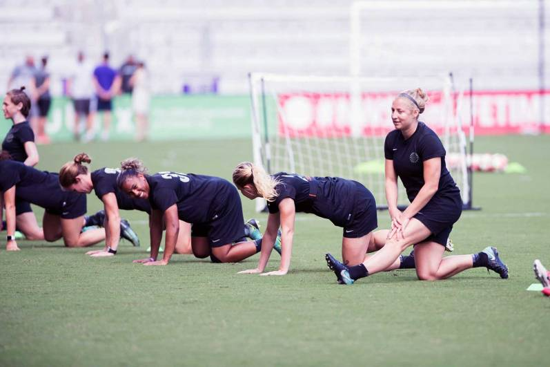 The Portland Thorns during training after NWSL Media Day in Orlando, Florida. (Monica Simoes)