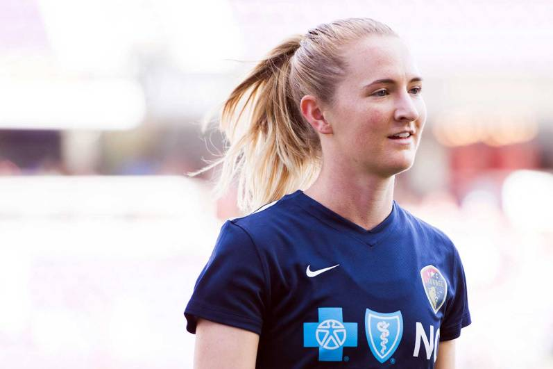Sam Mewis, midfielder for the North Carolina Courage, during pregame of the 2017 NWSL Championship. (Monica Simoes)