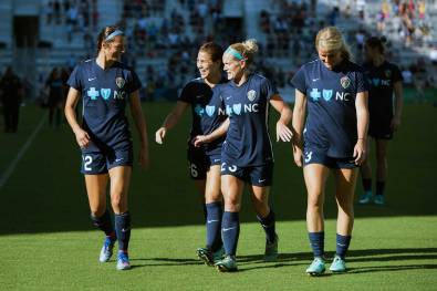 Ashley Hatch, Sam Witteman, Kristen Hamilton, and Makenzy Doniak during pregame of the 2017 NWSL Championship. (Monica Simoes)