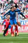 France's Amel Majri and the USA's Lynn Williams vie for the ball during the 2018 SheBelieves Cup. (Monica Simoes)