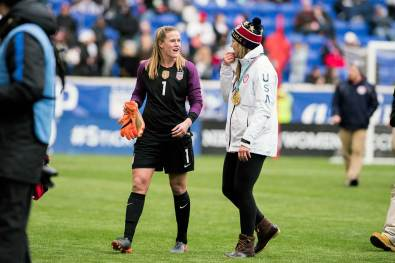 Alyssa Naeher and Meghan Duggan at the 2018 SheBelieves Cup. (Monica Simoes)