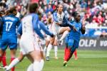 USA's Lynn Williams and France's Griedge Mbock Bathy battle for the ball during the 2018 SheBelieves Cup. (Monica Simoes)