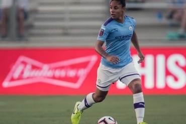 Manchester City left back Demi Stokes. (Shane Lardinois / OGM)