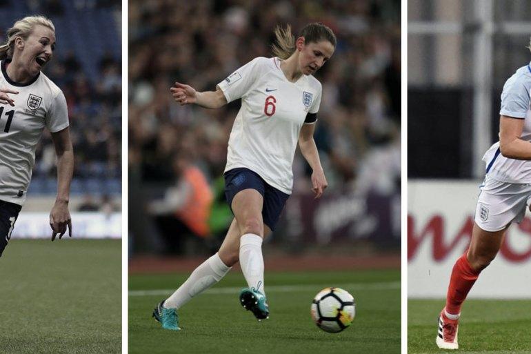 England's Toni Duggan, Abbie McManus, and Millie Bright.