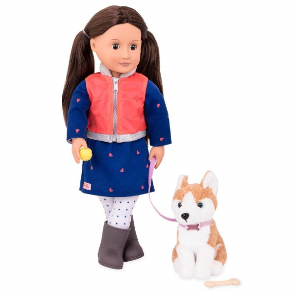 Our Generation Classic 18inch Doll Leslie with Husky