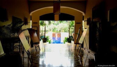 Entrance to the pool and restaurants from the lobby