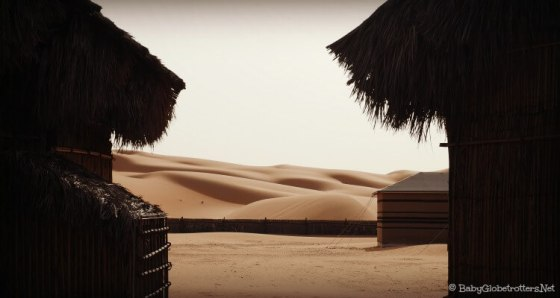 Glimmering sand dunes made for sand boarding at Arabian Nights Village