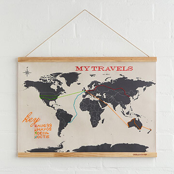 Cross stitch world travel map | Travel Gift Ideas for Men from Uncommon Goods