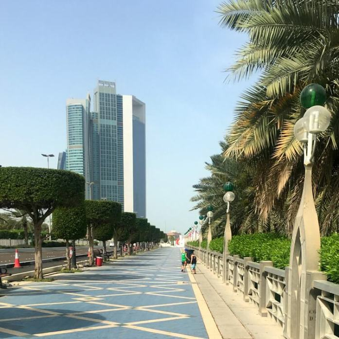View of Abu Dhabi Corniche towards new a'l Bahar beach front | AquaFun Abu Dhabi Corniche inflatable play park | Review by Our Globetrotters