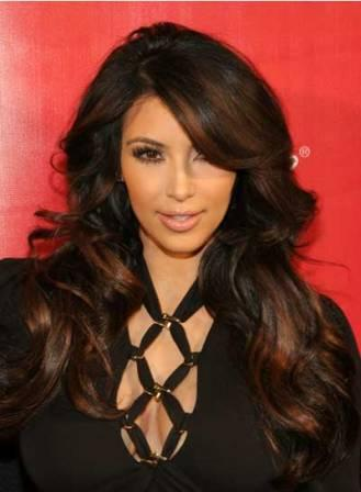 Kim Kardashian side-parted hairstyle with highlights