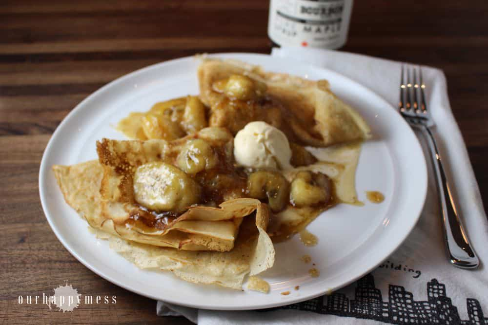 Bananas foster crepes