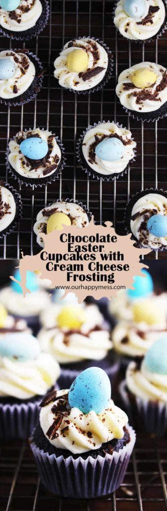 These bite-size chocolate Easter cupcakes with cream cheese frosting are adorable, festive and super tasty.