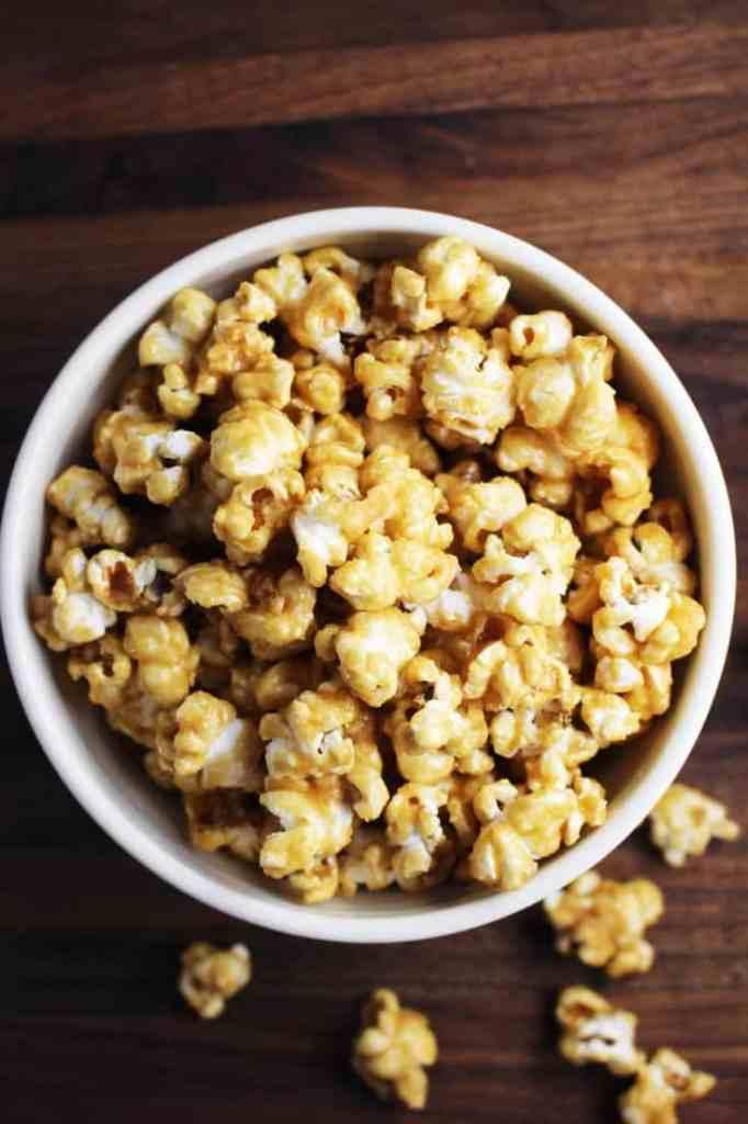 Homemade caramel corn in a bowl