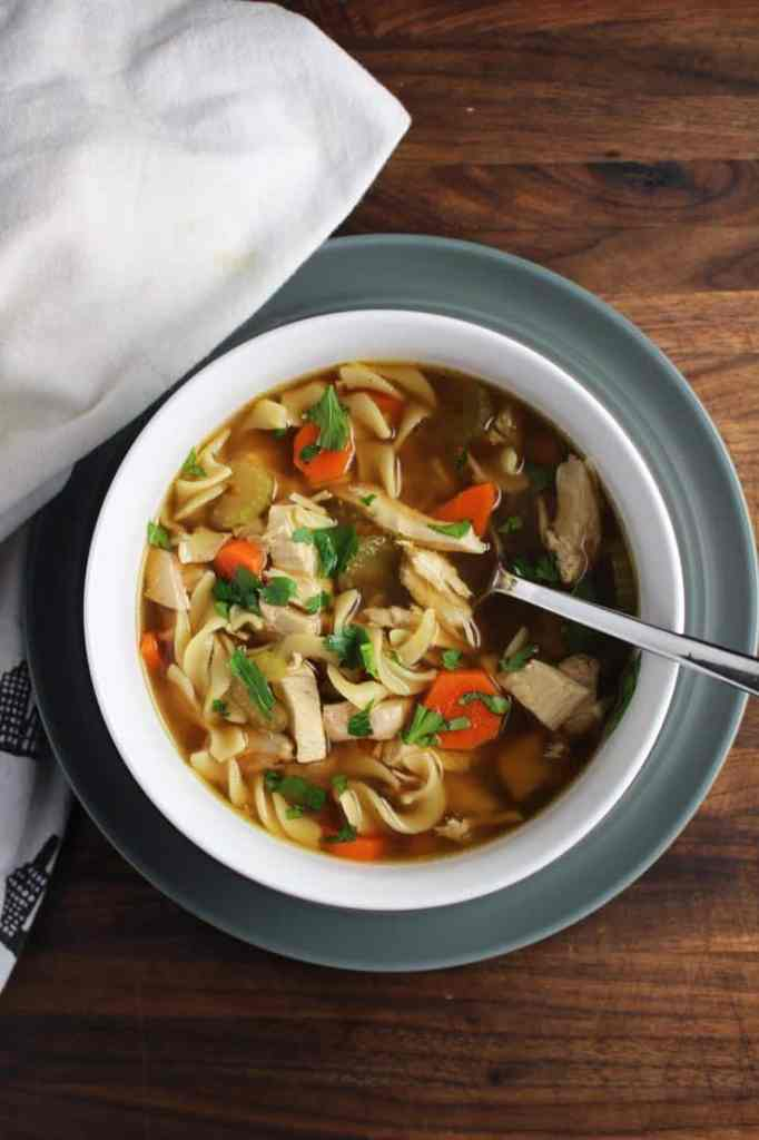 Bowl of quick chicken noodle soup