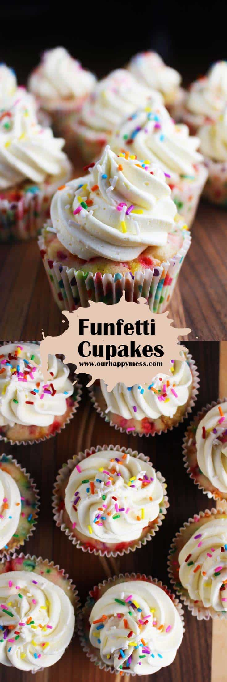These homemade funfetti cupcakes are moist and delicious with a light, fluffy frosting that tastes just like vanilla ice cream! #cupcakes