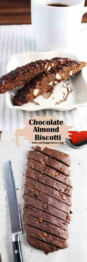 Chocolate almond biscotti are easy and fun to make. Drizzle with chocolate or leave them plain for dunking in your coffee.