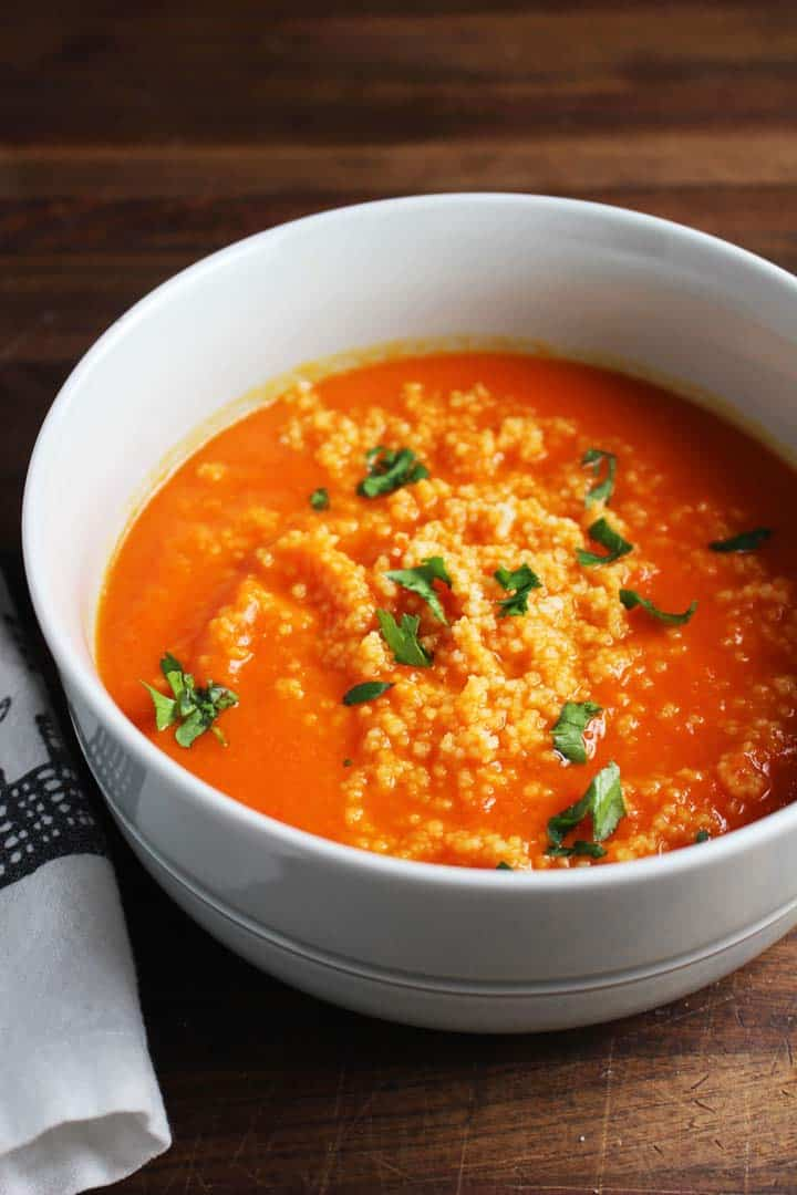 Red Pepper Carrot Soup with Couscous