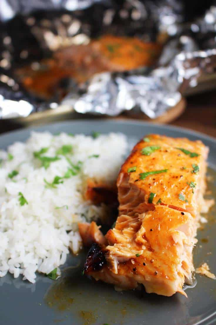 Sriracha Salmon with Honey Lime Butter and Coconut Rice