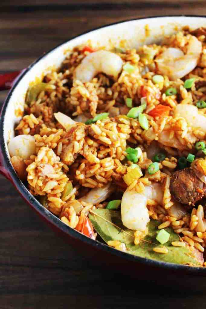Chicken, shrimp, and andouille jambalaya in a dutch oven