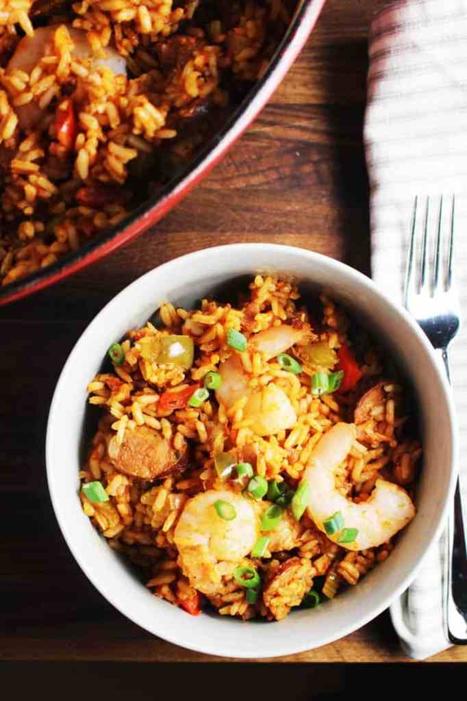 Overhead view of chicken, shrimp and sausage jambalaya in a bowl