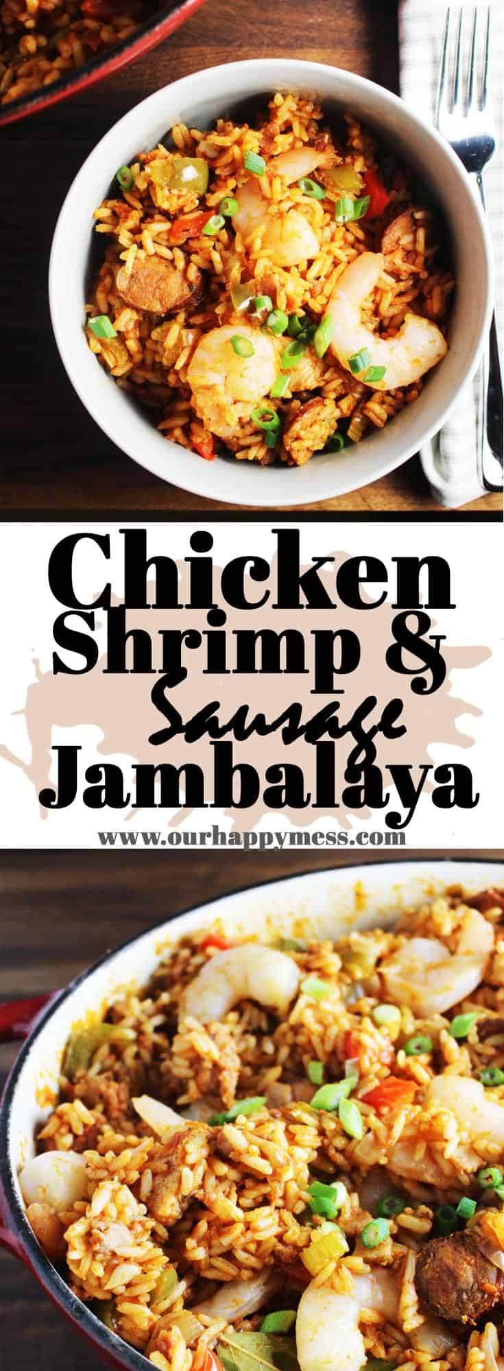 Chicken, shrimp and sausage jambalaya is a simple, hearty Cajun dish that is full of authentic Louisiana flavor. It's easy to make and perfect for celebrating Mardi Gras, no matter where you are in the world. #fattuesday #neworleans #cajun #onepot
