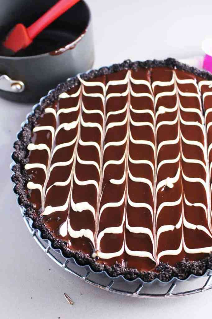Chevron pattern on chocolate tart recipe