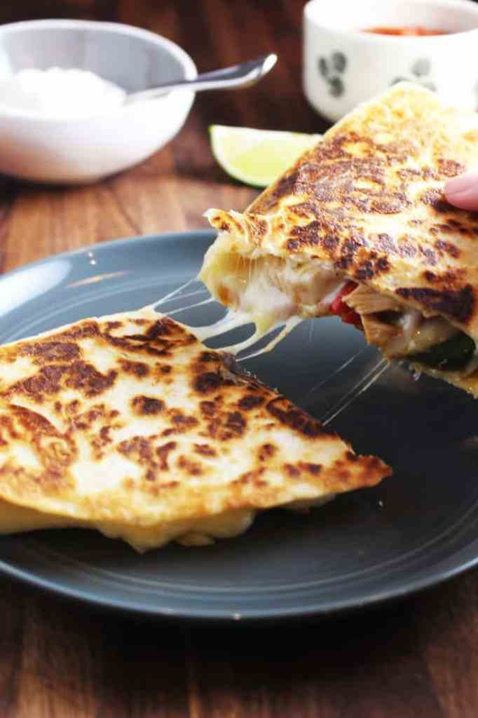 Chicken quesadillas on a plate
