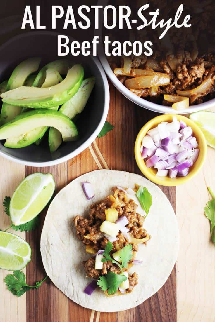 These easy al pastor style ground beef tacos are made with beef instead of pork. The meat is cooked with pineapple and jalapeno and mixed with cheese for a tangy, spicy, cheesy and incredibly tasty filling. It's a perfect weeknight dinner recipe when you're craving Mexican food. #Mexicanfood #tacos #tacotuesday #easydinner
