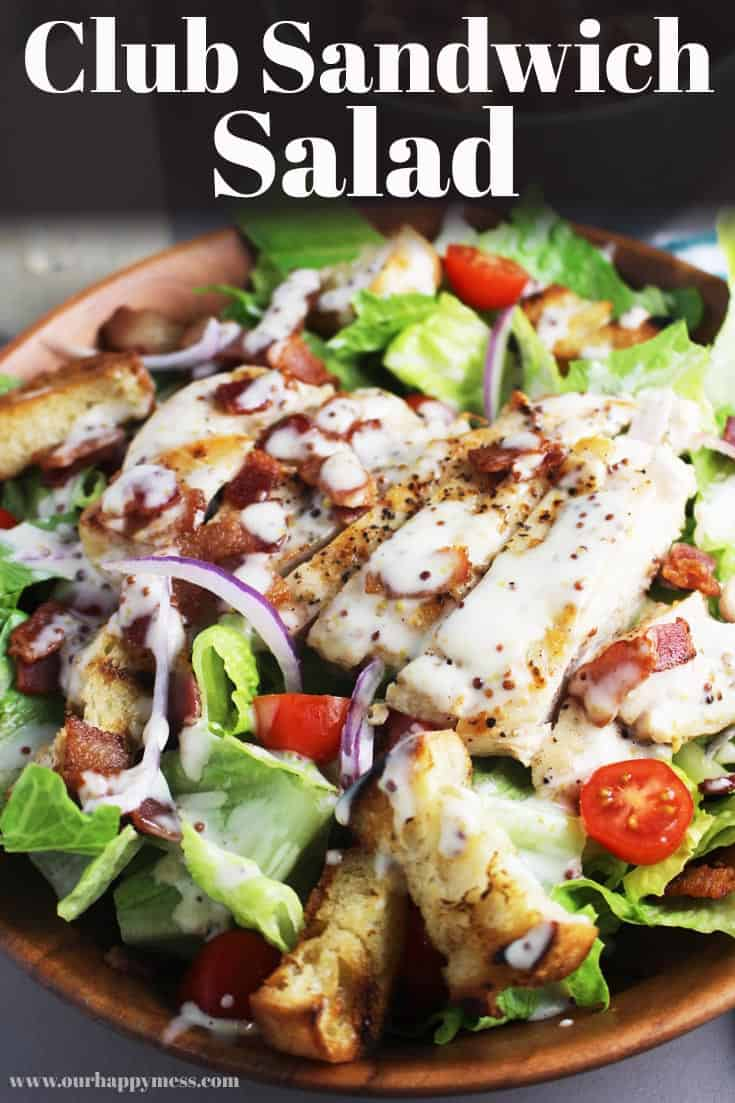 This healthy, hearty and satisfying main course salad recipe is a deconstructed version of a club sandwich, with golden buttery croutons, juicy chicken, and bacon on a bed of romaine and tomatoes, and topped with a creamy dressing so delicious you'll want to put it on everything. Skip the croutons for a low carb or keto dinner option! #salad #dinner #dinnerrecipes