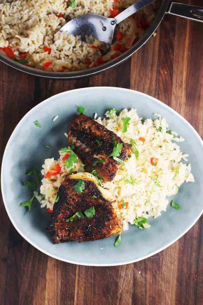 Overhead view of Cajun blackened fish recipe with rice on a plate