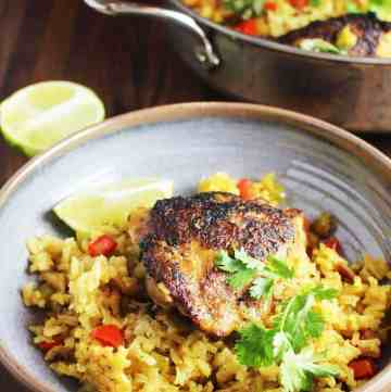 One pot Cuban chicken and rice recipe in a shallow bowl