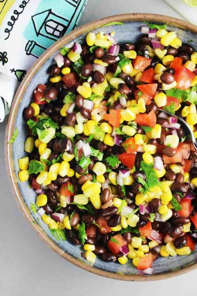 Black bean and corn salsa in a bowl for topping blackened fish tacos