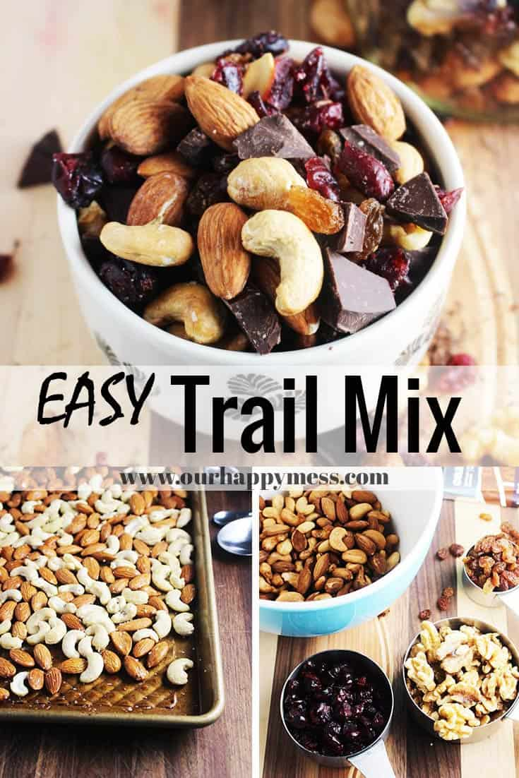 This easy, healthy, sweet and salty trail mix is perfect for lunch boxes, after schools snacks, road trips, and parties. Dark chocolate chunks make it an extra-special homemade treat kids and the whole family will love! This healthy snack also happens to be vegan, paleo, and gluten-free. #trailmix #healthysnacks #snacks #backtoschool