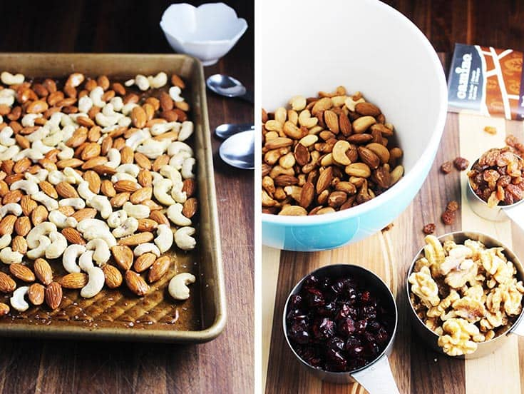 Collage of toasted cashews and almonds on a baking pan, and ingredients in bowls to make healthy trail mix