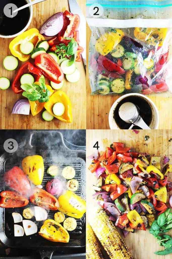 Process shots for making marinated grilled vegetables in a grill pan for summer pasta salad