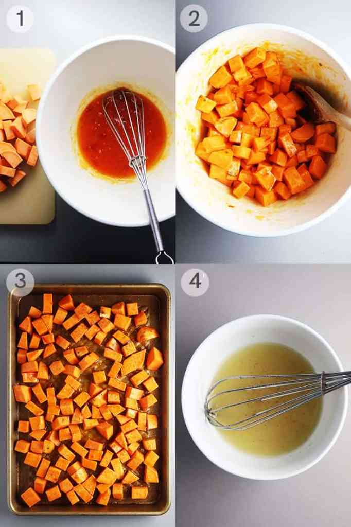 Process shots for making roasted sweet potato salad with kale.